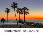 manhattan beach and pier at... | Shutterstock . vector #553464070