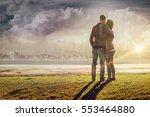 happy romantic loving couple at ... | Shutterstock . vector #553464880