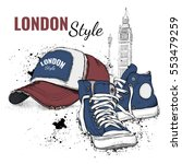 hand drawn vector sneakers and... | Shutterstock .eps vector #553479259