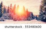 majestic winter landscape.... | Shutterstock . vector #553480600