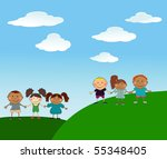 vector happy kids. | Shutterstock .eps vector #55348405