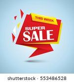 super sale banner as origami... | Shutterstock .eps vector #553486528