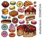 sketch collection of bakery... | Shutterstock .eps vector #553489144