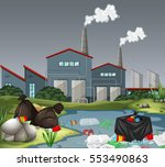 scene with factory and water... | Shutterstock .eps vector #553490863