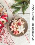 christmas gingerbread cookies... | Shutterstock . vector #553497220