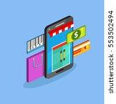 sale and buy. isometric vector... | Shutterstock .eps vector #553502494