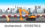 excavator working at the road... | Shutterstock .eps vector #553507813