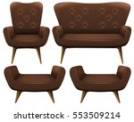 chairs and sofa in brown color... | Shutterstock .eps vector #553509214