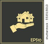 house in hand vector icon. | Shutterstock .eps vector #553515013
