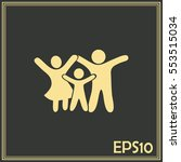 happy family icon in simple... | Shutterstock .eps vector #553515034