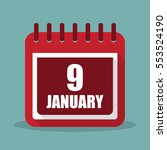 calendar with 9 january in a...
