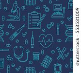 seamless pattern medical icons  ... | Shutterstock .eps vector #553531009