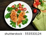 cooked grilled chicken breast...   Shutterstock . vector #553533124