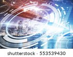 digital button on abstract city ... | Shutterstock . vector #553539430