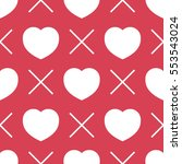 seamless pattern with heart.... | Shutterstock .eps vector #553543024