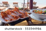 delicious fried seafood in... | Shutterstock . vector #553544986