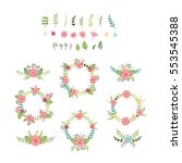 vector set of various foliage... | Shutterstock .eps vector #553545388