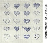 set of hand drawn heart shapes... | Shutterstock .eps vector #553546318