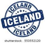 iceland. stamp. blue round... | Shutterstock .eps vector #553552120