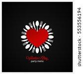 valentines day dinner menu...   Shutterstock .eps vector #553556194