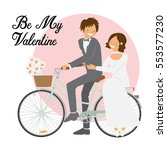 cute couple on bicycle for... | Shutterstock .eps vector #553577230