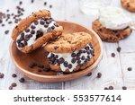 chocolate chip ice cream cookie ... | Shutterstock . vector #553577614