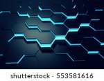 glowing blue hexagon pattern... | Shutterstock . vector #553581616
