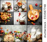 food collage of muesli with... | Shutterstock . vector #553587748