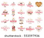 happy valentines day typography ... | Shutterstock .eps vector #553597936