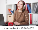 beautiful female student with... | Shutterstock . vector #553604290