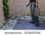 the exterminator technicians... | Shutterstock . vector #553605244