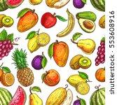 fruit seamless pattern... | Shutterstock .eps vector #553608916