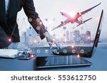 airline airplane flight path... | Shutterstock . vector #553612750