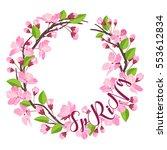 spring. cherry blossom spring... | Shutterstock .eps vector #553612834