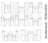 set of medieval castles  vector ... | Shutterstock .eps vector #553613353