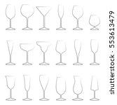 set of glasses outlines  vector ... | Shutterstock .eps vector #553613479