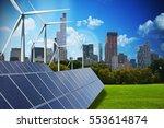 modern green city powered only... | Shutterstock . vector #553614874