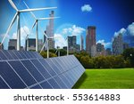 Modern green city powered only by renewable energy sources concept - stock photo
