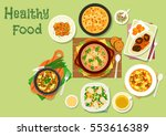 lunch dishes with chicken... | Shutterstock .eps vector #553616389