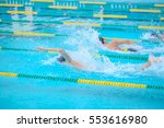 swimming in the pool is not... | Shutterstock . vector #553616980
