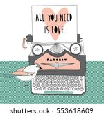 all you need is love.vintage... | Shutterstock .eps vector #553618609