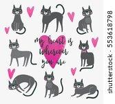 cute cat illustration. love... | Shutterstock .eps vector #553618798