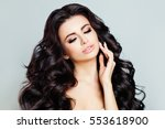 beautiful woman model with long ... | Shutterstock . vector #553618900
