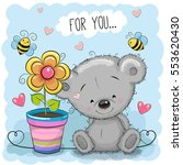 greeting card bear with flower... | Shutterstock .eps vector #553620430