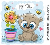 greeting card bear with flower... | Shutterstock .eps vector #553620448