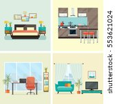 Set of  interior design house rooms with furniture icons: living room, bedroom, kitchen, home office. Flat style vector illustration. | Shutterstock vector #553621024
