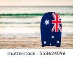 surfing board with australian... | Shutterstock . vector #553624096