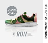 vector running shoes ad product ...