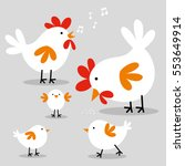 cute chicken family design with ... | Shutterstock .eps vector #553649914
