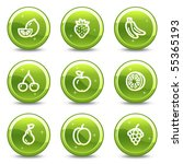 fruits web icons  green glossy... | Shutterstock .eps vector #55365193